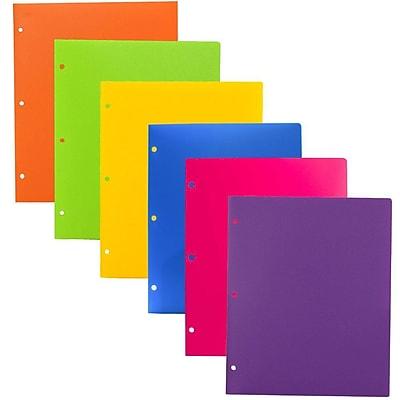 JAM Paper® Heavy Duty 3 Hole Punch 2 Pocket Plastic School Folders, Assorted Fashion Colors, 6/Pack (383HHPFASSRT)
