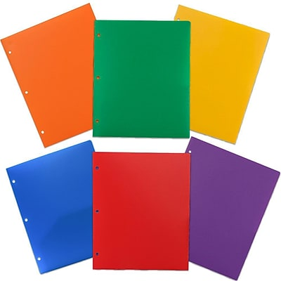 JAM Paper® Heavy Duty 3 Hole Punch 2 Pocket Plastic School Folders, Assorted Primary Colors, 6/Pack (383HHPRGBYPBL)