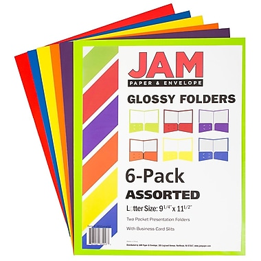 JAM Paper® Laminated Glossy 2 Pocket School Presentation Folders, Assorted Primary Colors, 6/Pack (385GASSRTD)
