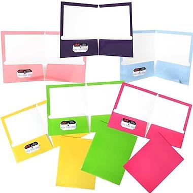 JAM PaperMD – Chemises de présentation scolaire à 2 pochettes plastifiées et lustrées, couleurs à la mode variées, 6/paquet