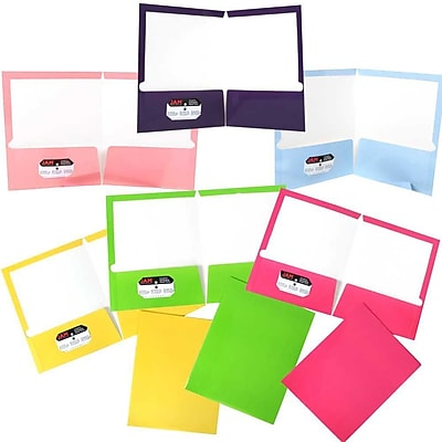 JAM Paper® Laminated Glossy 2 Pocket School Presentation Folders, Assorted Fashion Colors, 6/Pack (385GFASSRT)