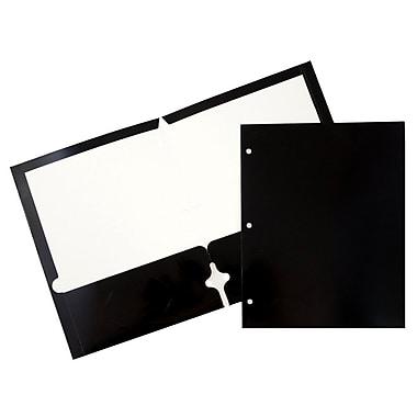 JAM PaperMD – Chemise lustrée à 3 trous et à 2 pochettes, noir, 50/paquet