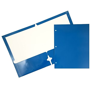 JAM Paper® Glossy 2 Pocket 3 Hole Punched Folders, Blue, 100/pack (385GHPBUB)