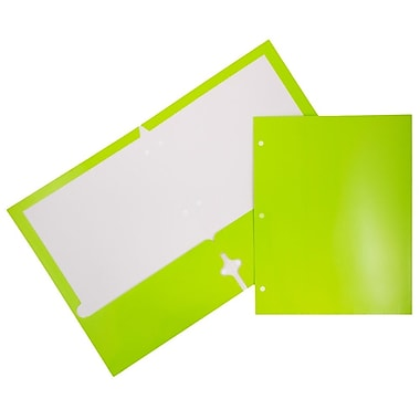 JAM Paper® Glossy 2 Pocket 3 Hole Punched Folders, Lime Green, 6/pack (385GHPLIA)