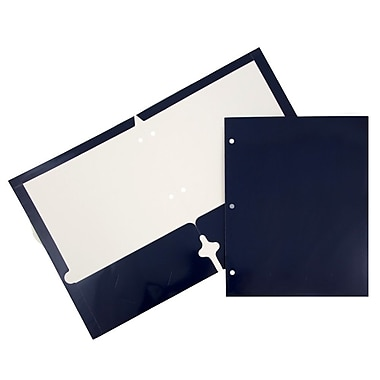 JAM Paper® 2-Pocket Laminated Glossy 3 Hole Punched School Folders, Navy Blue, 100/Pack (385GHPnab)