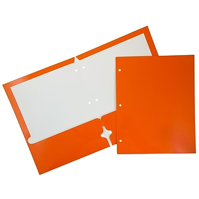 JAM Paper® Glossy 2 Pocket 3 Hole Punched Folders, Orange, 50/box (385GHPORC)