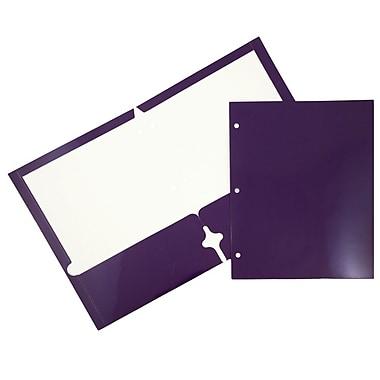 JAM PaperMD – Chemises scolaires à 3 trous et à 2 pochettes, plastifiées et lustrées, violet, 25/paquet