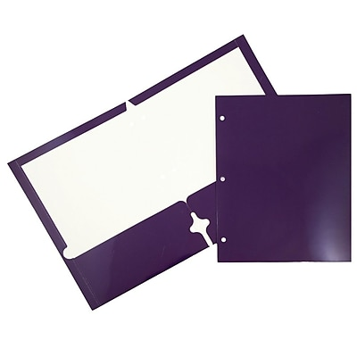 JAM Paper® Glossy 2 Pocket 3 Hole Punched Folders, Purple, 6/pack (385GHPPUA)