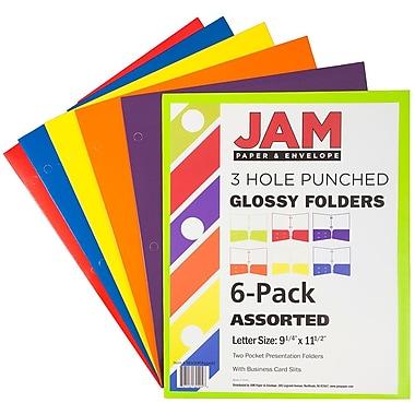 JAM PaperMD – Chemises de présentation scolaire à 3 trous et à 2 pochettes plastifiées et lustrées, couleurs variées, 6/paquet