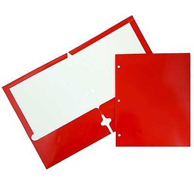 JAM Paper® Glossy 2 Pocket 3 Hole Punched Folders, Red, 6/pack (385GHPREA)