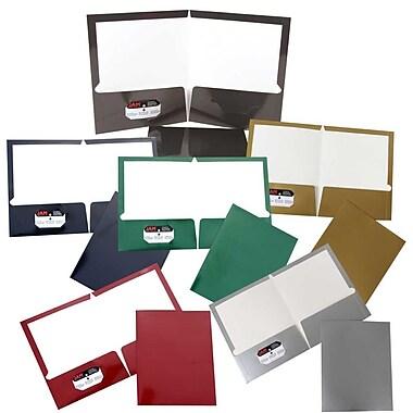JAM PaperMD – Chemises de présentation scolaire à 2 pochettes plastifiées et lustrées, couleurs décontractées variées, 6/paquet