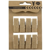 """JAM Paper® Wood Clothing Pin Clips, Large, 1.5"""", Burlap Covered, 8/Pack (526SJP256)"""