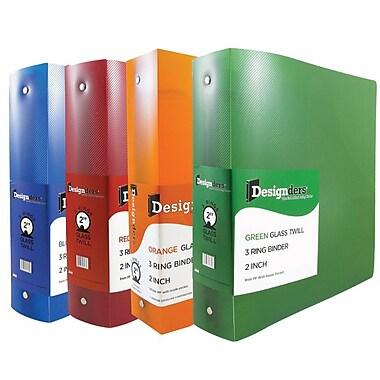 JAM PaperMD – Reliures en plastique assorties à 3 anneaux, 2 po, rouge, vert, bleu, orange, 4/paquet