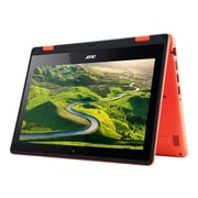 "Acer® Aspire R 11 R3-131T-C3PV 11.6"" Notebook, LCD, Intel Celeron N3060, 64GB, 4GB, Windows 10 Home, Black/Red"