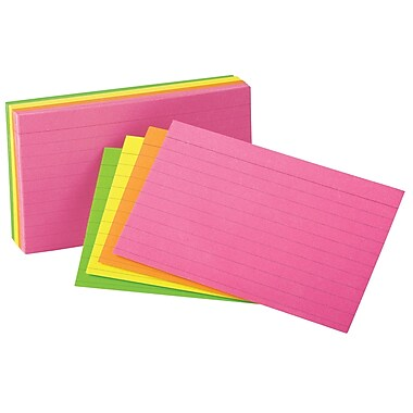 Staples Assorted Neon Index Cards, 3