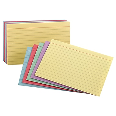 Staples Assorted Pastel Index Cards, 4