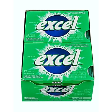 Excel Spearmint Sugar-Free Gum, 12/Pack