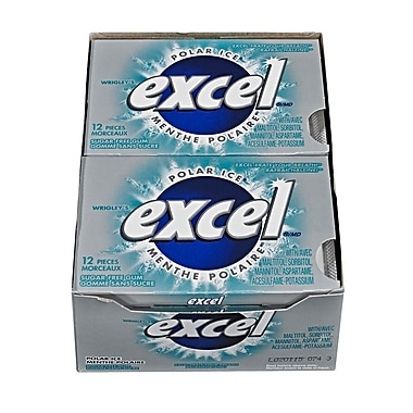 Excel Polar Ice Sugar-Free Gum, 12/Pack