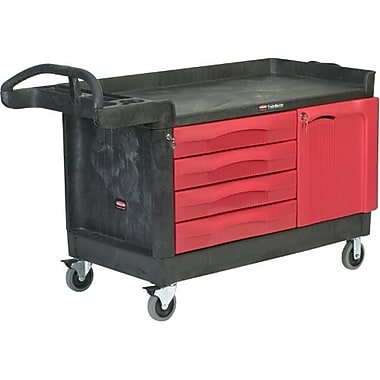 Rubbermaid Commercial Cart Trademaster 58x26 4Drwer&Cabnt 750Cap Black (FG454888BLA)
