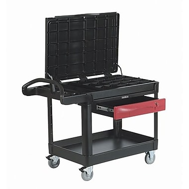 Rubbermaid Commercial Cart Trademaster Contractors 24x46 750 Cap Black (FG453588BLA)