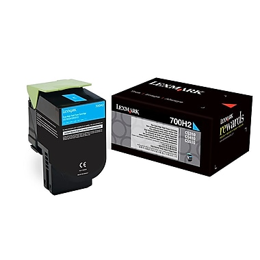 Lexmark 700H2 High Yield Toner Cartridge, Laser, High Yield, OEM, Cyan, (70C0H20)