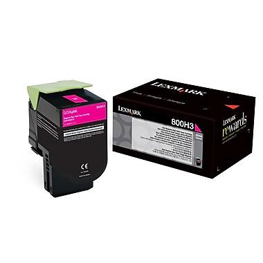 Lexmark Unison 800H3 Toner Cartridge, Laser, Standard Yield, Magenta, (80C0H30)