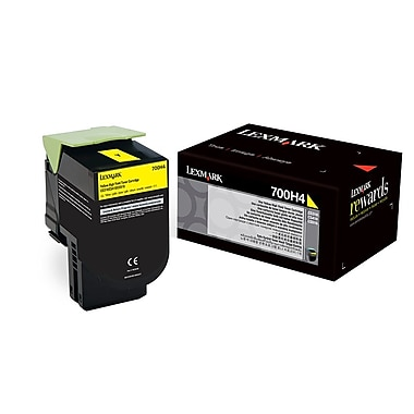 Lexmark 700H4 High Yield Toner Cartridge, Laser, High Yield, OEM, Yellow, (70C0H40)