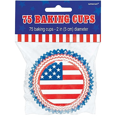 """""Amscan Flag Paper Baking Cups, 2.5"""""""", Red/White/Blue, 5/Pack, 75 Per Pack (140041)"""""" 2409462"