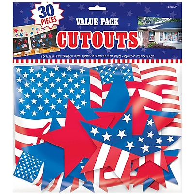 Amscan Patriotic Cutout Assortment, Red/White/Blue, 2/Pack, 30 Per Pack (198654)