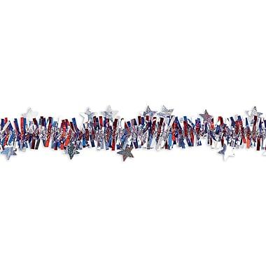 Amscan Patriotic Tinsel Garland, 25', Red/Silver/Blue, 2/Pack (220071)