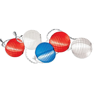 Amscan Round Lantern Lights Set, 9', Red/White/Blue (240895)