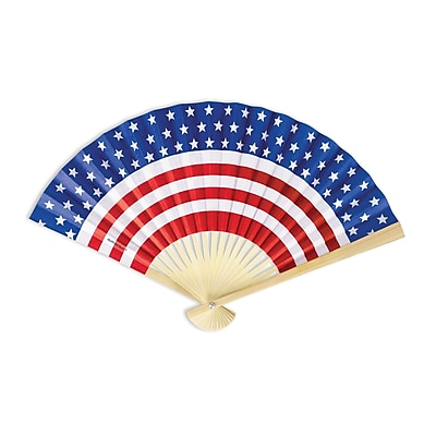 """Amscan Patriotic Paper Fan, 9"""" x 12.5"""", Red/White/Blue, 14/Pack (394206)"""
