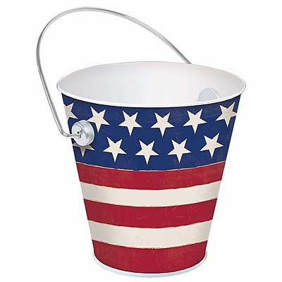 Amscan Americana Flag Metal Bucket, 4