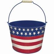 "Amscan Americana Metal Bucket, 7"", Red/White/Blue (430317)"