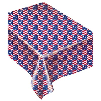 Amscan Patriotic Flannel Back Tablecover, 52