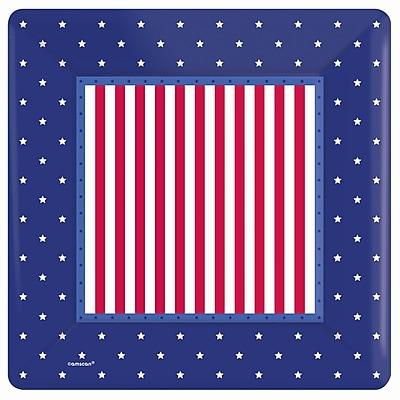 Amscan American Classic Square Paper Plate, 10