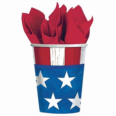 Amscan Americana Paper Cup, 9oz, 4/Pack, 25 Per Pack (689826)