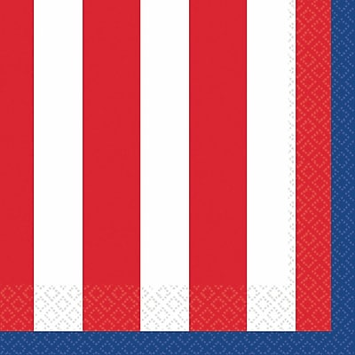 Amscan Red, White and Blue Stars Beverage Napkins, 5