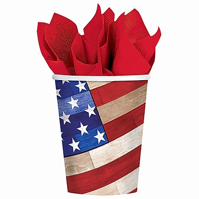 Amscan Old Glory Paper Cup, 9oz, 3/Pack, 18 Per Pack (731618)