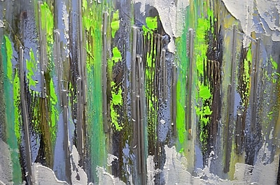 Omax Decor Arranged Lines in Green Painting on Canvas
