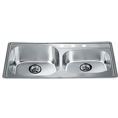 Dawn USA 34.25'' x 19.13'' Top Mount Double Bowl Kitchen Sink