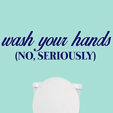 SweetumsWallDecals ''Wash Your Hands, No Seriously'' Wall Decal; Navy