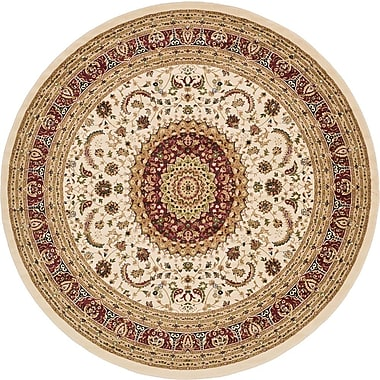 Unique Loom Mashad Ivory Area Rug; Round 9'10''