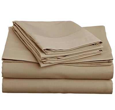 Off To Bed 1500 Thread Count 4 Piece Twin Sheet Set; Taupe WYF078279154241