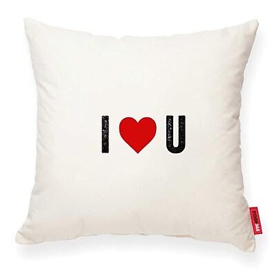 Posh365 Expressive ''I Heart U'' Decorative Cotton Throw Pillow; Cream Cotton