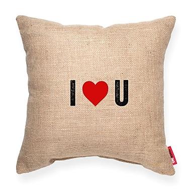 Posh365 Expressive ''I Heart U'' Decorative Cotton Throw Pillow; Brown Burlap