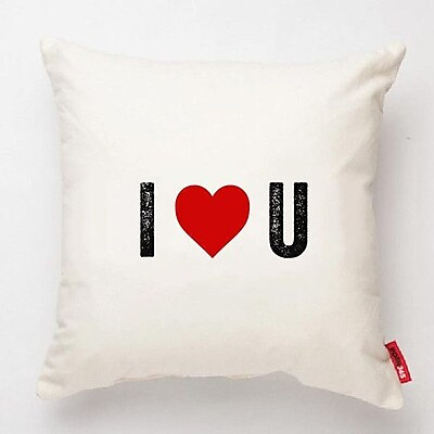 Posh365 Expressive ''I Heart U'' Decorative Cotton Throw Pillow; White Cotton