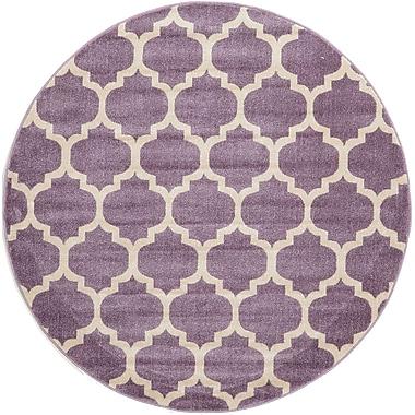 Unique Loom Trellis Purple Area Rug; Round 8'