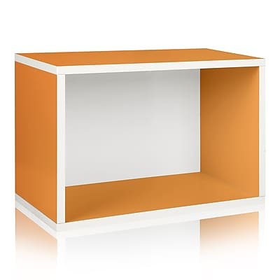 Way Basics Eco Stackable Large Rectangle Shelf and Storage Organizer, Orange