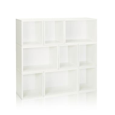 Way Basics Eco-Friendly 9 Stackable Oxford Storage Cubby, White - Lifetime Warranty